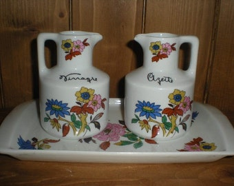 Porcelain Oil and Vinegar Set with Tray - Schmidt Made in Brazil