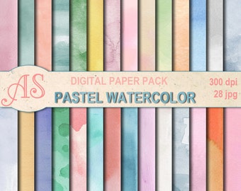 Digital  Pastel Watercolor Paper Pack, 28 printable Digital Scrapbooking papers, watercolour Digital Collage, Instant Download, set 292