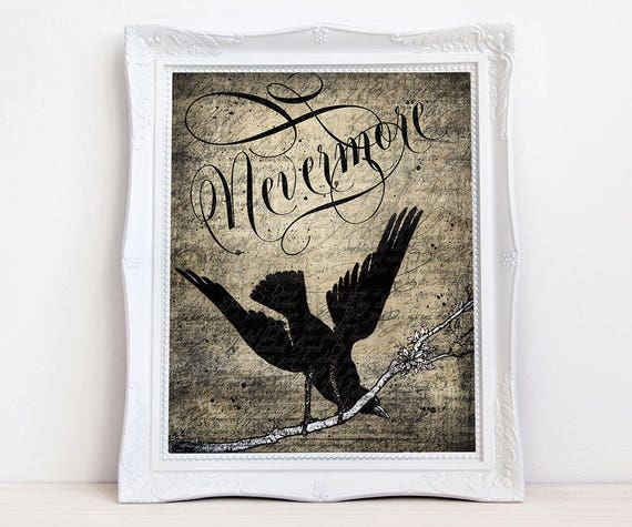 Nevermore Quoth Raven art print, Vintage crow raven, Edgar Allen Poe, Gothic bird wall decor antique style