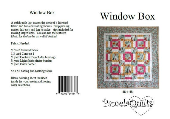 Window box quilt pattern 48 x 48 beginner easy fast to window box quilt pattern 48 x 48 beginner easy fast to make strip pieced quilt pattern pdf download instructions quiltsydestashparty malvernweather Image collections