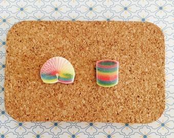 Slinky handmade hypoallergenic stud earrings girl gift idea 90's