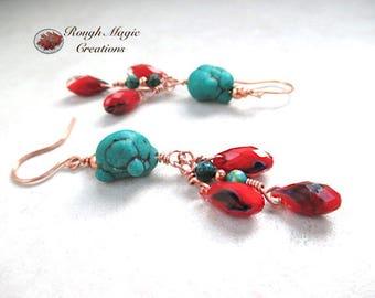 Turquoise Red Earrings, Boho Southwestern Tribal Style, Long Shoulder Dusters, Faux Turquoise, Jasper Gemstone, Czech Glass Teardrops E497A