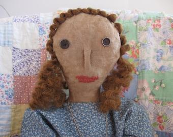 Primitive Folk Art Doll Katherine, OOAK, FAAP