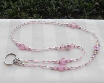 Pink ID Badge Lanyard Roses Hearts Beaded Lanyard Necklace ID Badge Holder