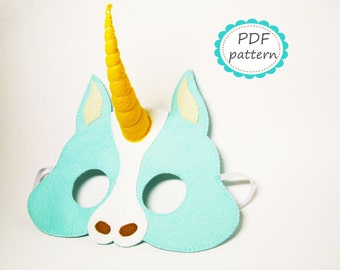 PDF PATTERN Unicorn felt mask sewing horn tutorial instruction DIY handmade party favor accessory for boy girl adult Dress up play
