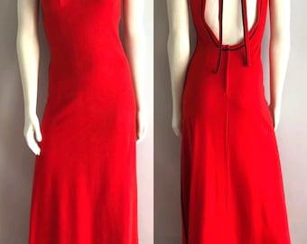 Weinlese-Frauen 70er Jahre rot, Kleid, offene Rücken, voller Länge durch moderne Junioren (S)