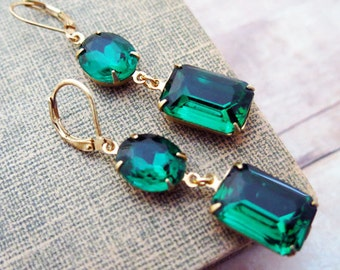 Emerald Earrings Emerald Green Earrings Gold Emerald Earrings Vintage earrings Bridal Jewelry Angelina Jolie Earrings Weddings