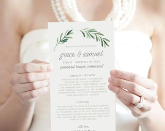 Wedding Program Template, Printable Wedding Program, DIY Wedding Programs, Printable Order Of Service, Wedding Program Printable - KPC02_202