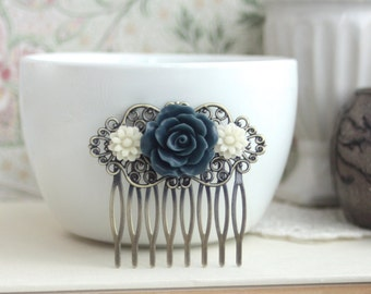 Navy Blue, Dark Greyish Blue Rose, Soft White Daisy Flower Hair Comb, Bridesmaids Gift. Bridal Wedding Comb. Something Blue. Country French