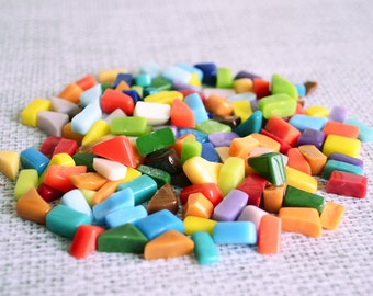 Mosaic tools/100 g/Smalti/Opaque Glass Solid Color/Hand Cut/Different shapes/Perfect for Mosaic Art/Mosaic Supplies/Rainbow pieces