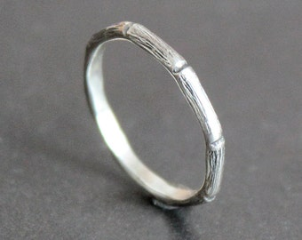 Sterling Silver Bamboo Ring - 2mm Stacking Ring - Skinny Band