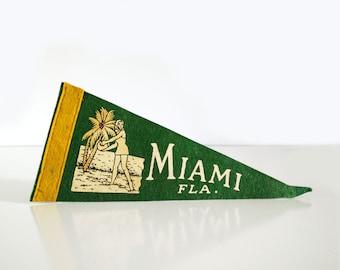 Vintage Miami Fla. Pennant / 1950s Florida Souvenir / Felt Pennant