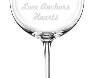 Anchor Etched Wine Glass, Nautical Barware