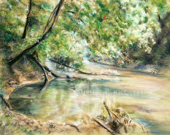 "Wilderness wildlife hidden living creatures in painting ""River's Bend"", Canvas or paper print, landscape, nature habitat, Laurie Shanholtzer"