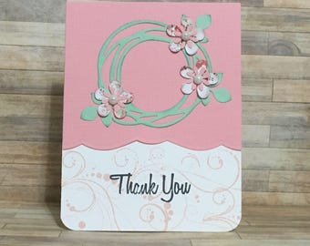 Greeting card, handmade card, thank you card, all occasion card, friendship card, pink