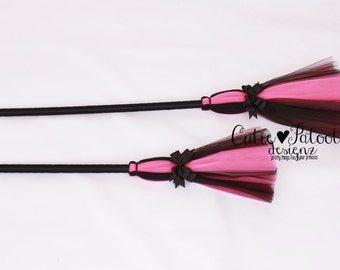 READY TO SHIP: Bewitched Broomstick - Pink & Black - Halloween Witch Broom Costume Accessory - Bitty Toddler Child Size