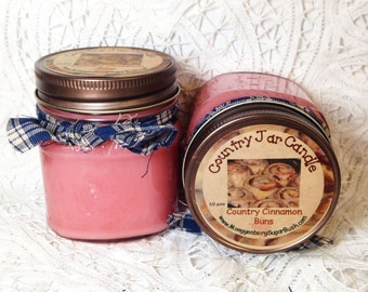 Mason jar candle, Country Cinnamon Buns, Cinnamon rolls, warm icing, bakery scent candle, half pint, Moeggenborg Sugar Bush