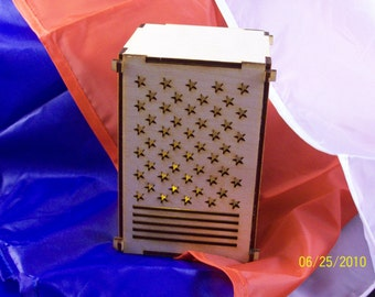 Stars and Stripes Tea Light Boxes - Comes with battery operated tea light