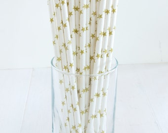 25 Gold Star Straws - Be The Star of Your Next Party!