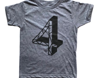 Milestone Number Four // Tri-Blend Grey T-Shirt // Birthday Shirt // Four Years Old // Gender Neutral // Fourth Birthday Outfit // Geometric