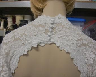 Lace Wedding Shrug, Cover Up, Keyhole Wedding Bolero in Stretch Lace