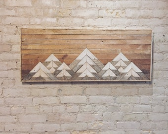Reclaimed Wood Wall Art Wall Decor Twin Headboard Lath Geometric Mountains Gradient Mountain Lath Wood Wall Art Wood Decor Rustic & This item is unavailable