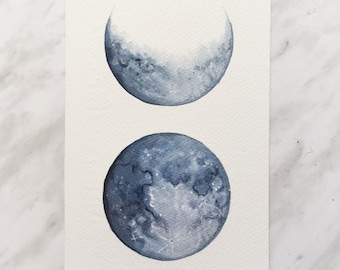 Original Moon Phase Painting, Moon Art, Lunar Artwork, Boho Decor, Dreamy Moon, Indie Decor, Boho Painting, Full Moon, Moon Decor, Space Art