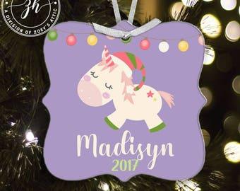 Christmas unicorn personalized metal ornament - sweet whimsical magical unicorn ornament MPO-001