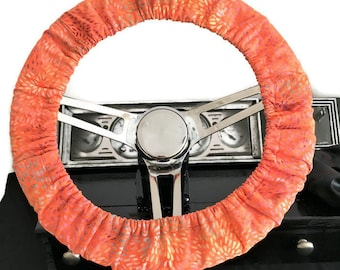 Steering Wheel Cover//Orange//Girly Car Accessory// 15 inch Lined Cotton Fabric Steering Cover//Accessory for Car Jeep Truck Golf Cart