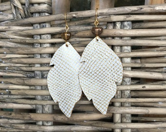 Gold Metallic and White Leather Leaf with Vintage Glass Bead - Dangle Earrings, Genuine Leather, Statement Earrings