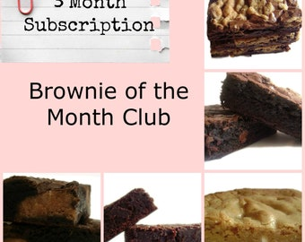 Brownie of the Month Club - 3 Month Subscription, Gift Subscription, Flavored Brownies, Homemade Brownies, Dark Chocolate Brownies