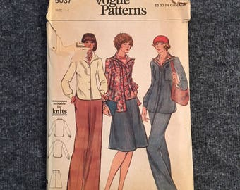 Vintage 1970s Vogue Jacket, Shirt, Pants and Skirt Pattern - Size 14