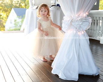 Champagne Flower Girl Dress, Baby Flower Girl Tulle Tutu Wedding Dresses, Flower Girl Princess Toddler, Ivory, White, Pink, Navy, Blush