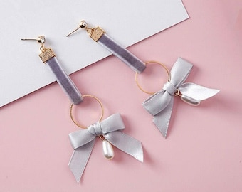Grey gold velvet bow earrings kawaii stud ribbon pearl. Please feel free to ask me any questions about my items:)
