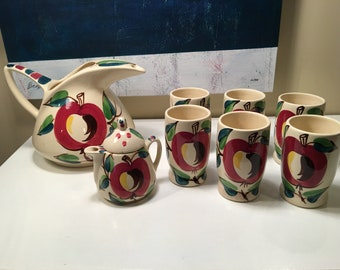Vintage Mid Century 8 Piece Purinton Pottery Handpainted Apple Slipware Collection