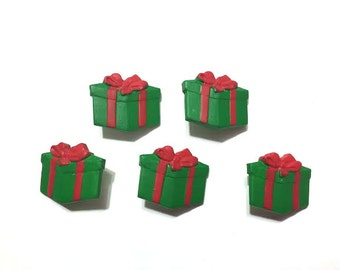 Christmas Present Buttons Shank Back Set of 5 Red Bow Blumenthal Lansing La Mode Buttons Hand Painted - 648 F