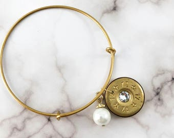 Bullet and Pearl Charm Bangle Bracelet