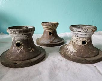 Three 1940s ceiling light fixture bases