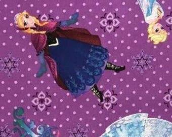 Quilting Cotton Frozen Elsa and Anna Purple