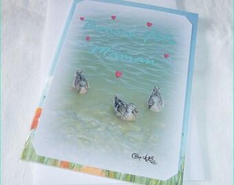 """Carte double """" Amour de canards """" Bonne Fête Maman 10,5x15cm"""