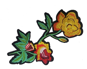 Iron On Embroidered Roses Patches, Flowers Appliques, Glue on Flowers, Garment Embellishment