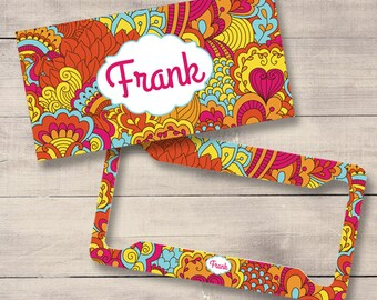 Tropical Retro Floral Car Tags, Monogram License Plate and Frame, Personalized for Teenage Girls, Flower License, Monogram Car Tag (0024)