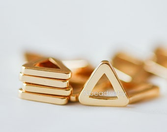 10pcs Gold Triangle Link Charms 11mm, Gold plated Brass Geometric Connector Pendants, Lead Nickel Free (GB-223)