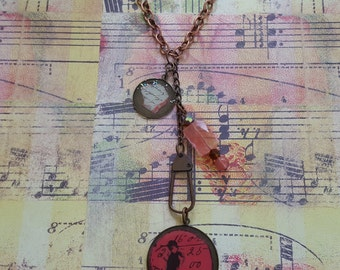 Sale! Boho Meets Steampunk, Found Objects Necklace: Chic Pink Handwriting Graphic Charm & Bird+Numbers Pendant+Brass Swivel Clasp+Pink Beads