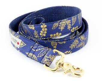 Queen Anne Navy Gold Dog Leash - Rifle Paper Co.