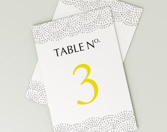 Printable Wedding Table Number Download 'Fountain' // DIY TEMPLATE // Word Mac or PC // 5 x 7 // Change artwork colour // Luxury Design