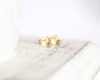 14k Gold Studs - 3mm Ball Earrings - Simple Gold Studs - Gold Posts - Tiny Earrings - Small Round Studs - Dainty Earrings - Solid 14k Gold