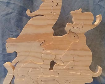 Wooden Pile of Cats Puzzle