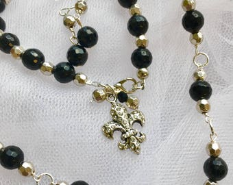 Black Crystals Bracelet, Necklace and Earrings