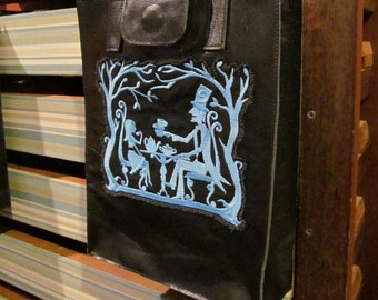 Black Leather, Embroidered, Tote, Market, Shoulder Bag